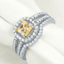Wedding Engagement Ring Set For Women Yellow Sapphire Cz Sterling Silver Size 8