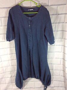BRYN WALKER BLUE Linen Jacket Size Small Short Sleeve Open Front Drawstring (T6)