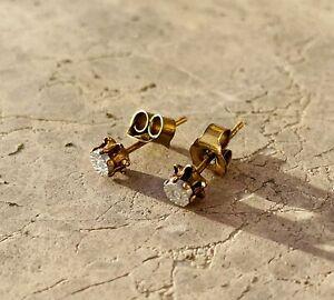 Vintage Gold Plated Dainty Cubic Zirconia CZ Flat Stud Pierced Earrings