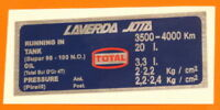 LAVERDA JOTA 120 CLOCKS DECAL   FUEL OCTANE/OIL/FUEL  CAPACITIES/PIRELLI  TYRE