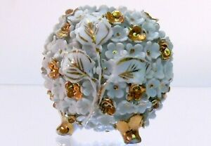 Antique Meissen style porcelain holder decorated with flowers gilded gold petals