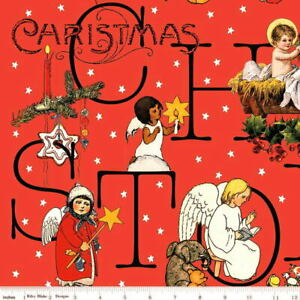 J. Wecker Frisch for Riley Blake All About Christmas Story Red Cotton Fabric BTY
