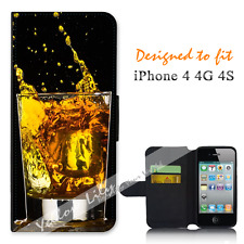 For Apple iPhone 4 4G 4S Wallet Flip Phone Case Cover Whiskey Glass Y01000