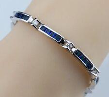 """925 Sterling Silver Blue Sapphire & White Topaz Rectangular Tennis Bracelet 7"""""""