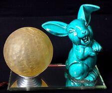 Superbe lampe Art déco lapin riant faience Old lamp rabbit ceramic 1930