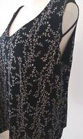 RONNIE NICOLE By OUIDA Women's Plus Size 2X Texture Black Floral V Neck Sparkles
