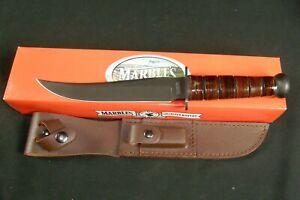 Marbles MR246 Jet pilot survival knife Stacked Leather Handle Sheath NOS NIB