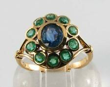 LARGE 9CT 9K GOLD SAPPHIRE EMERALD VICTORIAN INSP CLUSTER RING FREE RESIZE