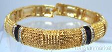 Gold Tone Black Enamel Bangle Bracelet