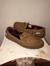 Men's L.L. Bean Brown Leather Plaid Flannel Lined Mocassin Slippers Sz 9