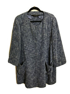 *DFSS* Marina Rinaldi Size 21 (AU16) Made in Italy Blue Woven Cotton Blend Coat