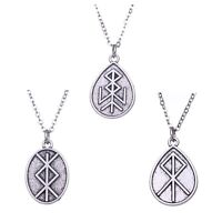Viking Runes Norse Talisman Pendant Necklace Vintage Jewelry