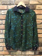 C wonder dark green silk equestrian horse print blouse shirt euc m medium