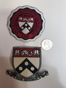 """(2) UNIVERSITY OF PENNSYLVANIA embroidered iron on patches Patch Lot 3.5"""" & 3"""""""