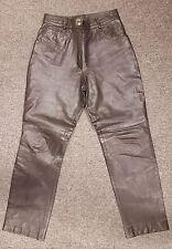 #657 Ladies Black Quality Leather Biker Style Motorcycle Pants, Large