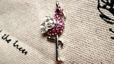 Flamingo bird charm silver and pink rhinestone pendant jewellery supplies C358