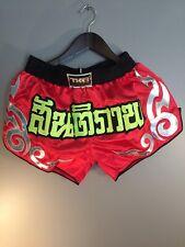 Top King Muay Thai Shorts Gold Kick Boxing Mma Fight Martial Arts Black Trunks L