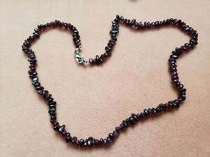 """Hand- Made GENUINE * GARNET * NECKLACE 18"""" Long - Made in USA"""