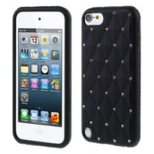 Apple iPod Touch 5 6 Silikon Case Soft Rhinestone Glitzer Bling Funkel Schwarz