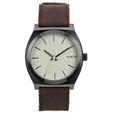 Nixon A0451388 Time Teller Gunmetal Brown Leather Mens Analog Watch
