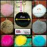 UK Seller Real Fluffy Rabbit Fur Pompom Keyring Bag Charm Keychain 8cm Pom Pom