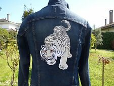 White Tiger Large Embroidered Applique Back Patches 12 Inch Sew Iron-on Jacket