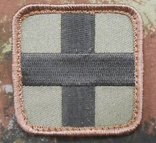 """MEDIC SQUARE EMT EMS CROSS ARMY FOREST VELCRO® BRAND FASTENER PATCH 2"""""""