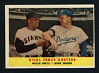 1958 TOPPS ~ #436 ~ RIVAL FENCE BUSTERS ~ WILLIE MAYS & DUKE SNIDER