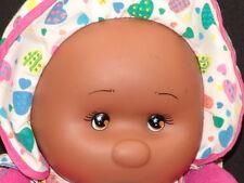 VINTAGE THUMBSUCKING BLACK BABY DOLL PINK Pajama PLUSH STUFFED ANIMAL TOY