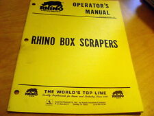 Servis Rhino Box Scrapers Operator's Owner's Manual Catalog Book