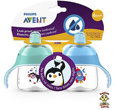 Avent My Little Sippy Cup, 7 oz, 6m+, Blue & Green, 2 Pack, BPA Free