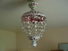 VINTAGE BOHEMIAN OVERLAY WHITE GLASS CUT TO RED CEILING LIGHT.