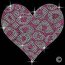 Leopard Heart Iron On Hotfix Diamante Motif Rhinestone Transfer