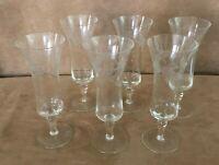 Vintage floral etched Sherry Cordial Aperitif Glasses Set of 6 parfait glassware