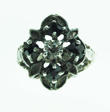 Beautiful Sterling Silver Black & Clear Glass Cluster Ring 15mm Size 7.5