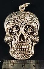 Sugar Candy Skull silver pendant folkloric Muertos Day of the dead feeanddave