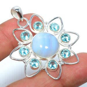 """Namibian Blue Lace Agate & Blue Topaz 925 Sterling Silver Pendant 1.91"""" F2524"""
