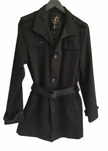 "RIVER ISLAND  Jacket Coat Men's Black Size Medium Button Belted Chest 38-40"""