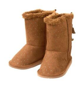 NIP Crazy 8 Sparkle Dot Cozy Boots - Cinnamon - 8 Toddler