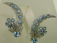 Rhinestone Floral Earrings! Minty Amazing Vintage 1950-60'S Foiled