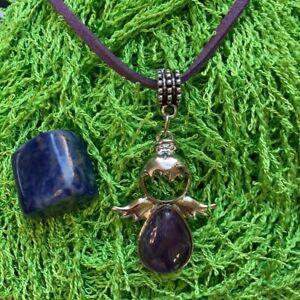 Genuine Amethyst Stone Angel necklace