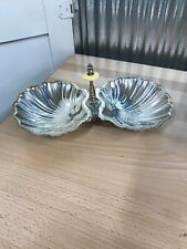 Vintage Silver Plate Large Double Clam Shell Design With Handle Candy Nut Dish