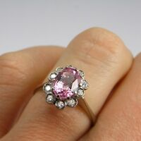 Padparadscha Pink Peach Sapphire Engagement Ring Cluster 1950s 18K Diamond Gold