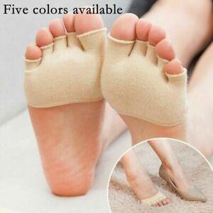 2pairs Yoga Forefoot Cover Pad Toe Sock Half Grip Heel Five Finger Womens Socks