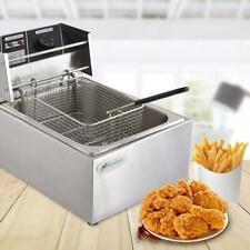 8l Electric Deep Fryer Single Tank Commercial Countertop Fry Basket Restaurant