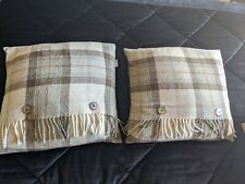 Bronte By Moon Cushions Green Plaid Check Tassle Button Barker and Stonehouse
