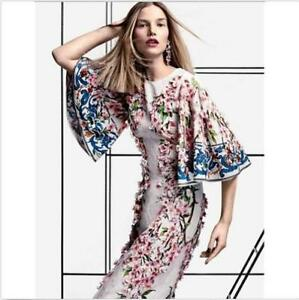 Womens 3D Floral Embroidery Speaker Sleeves Mid Length Dress Fashion Chic