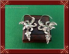 miao silver butterfly earring 1pair Retro palace double sides handmade filigree