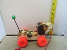 Fisher Price Vintage Little Snoopy Dog Pull Behind Child Toy Slinky Tail Wooden