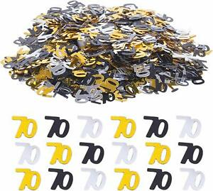 Black Gold & Silver 70th Birthday Party Table Confetti Decorations Age Sprinkles